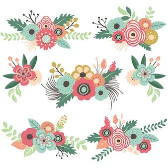 Vintage bloemboeket set