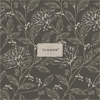 Vintage bloemen afdrukbaar naadloos patroon