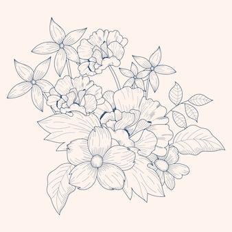 Vintage bloemen boeket tekening