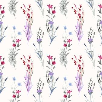 Vintage bloemen en takken aquarel naadloze patroon