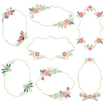 Vintage bloemen frames set