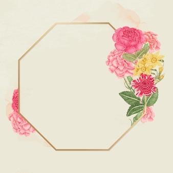 Vintage bloemen gouden frame, geremixt van de 18e-eeuwse kunstwerken uit het smithsonian archief.
