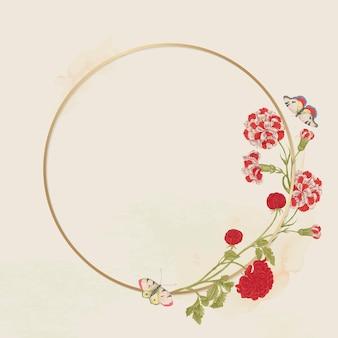 Vintage bloemen gouden frame vector, geremixt van de 18e-eeuwse kunstwerken uit het smithsonian archief.