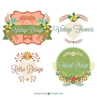 Vintage bloemen grafische elementen ontwerp