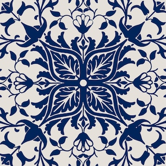 Vintage bloemen ornament naadloze blauwe patroon achtergrond