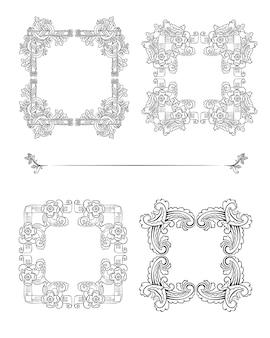 Vintage bloemen vierkante bruiloft frames set met natuurlijke mooie elegante bloemen in schets