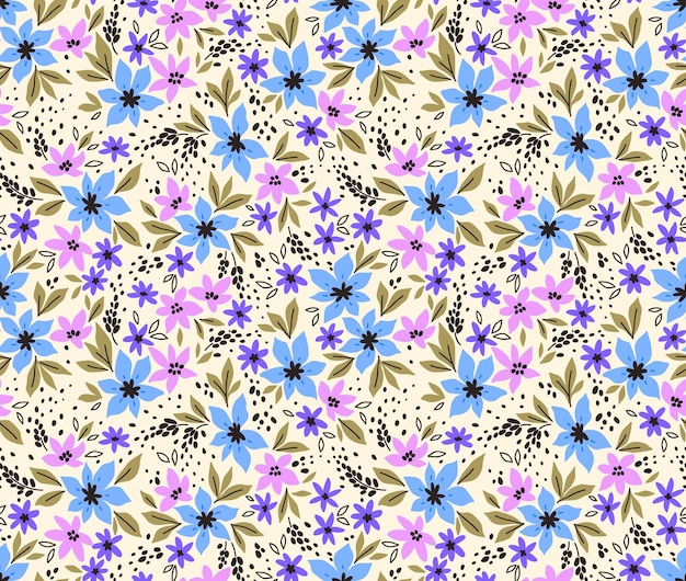 Vintage bloemenachtergrond naadloos vectorpatroon met kleine lila bloemen op een whit background