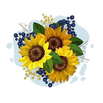 Vintage bloemenboeket van prachtige zonnebloemen