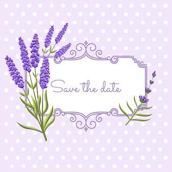 Vintage bloemenframe met lavendel in de stijl van de provence. bewaar de datum
