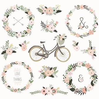 Vintage bloemenkrans fietsen