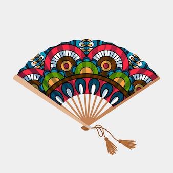 Vintage bloemenornament aziatische ventilator