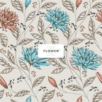 Vintage bloemenpatroon vector sjabloon
