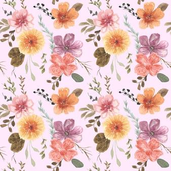 Vintage bloementuin aquarel naadloze patroon