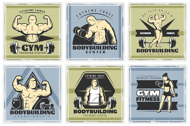 Vintage body building illustraties set