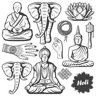 Vintage boeddhisme religie elementen set met boeddha monnik olifant rozenkrans religieuze kralen lotusbloem handen tibetaanse gebedsmolen geïsoleerd