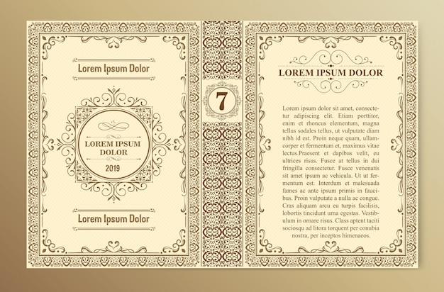 Vintage boek omslagsjabloon lay-outs en ontwerp