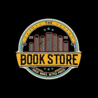 Vintage boekhandel badge of embleem logo premium vector