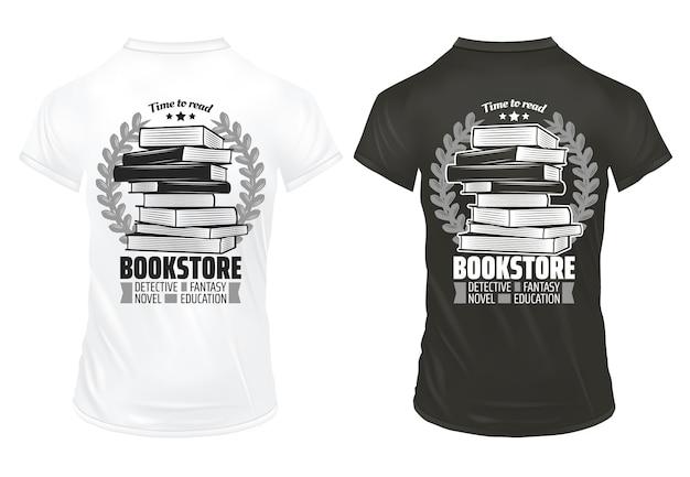 Vintage boekhandel wordt afgedrukt op shirts sjabloon met inscripties boeken en lauwerkransen geïsoleerd