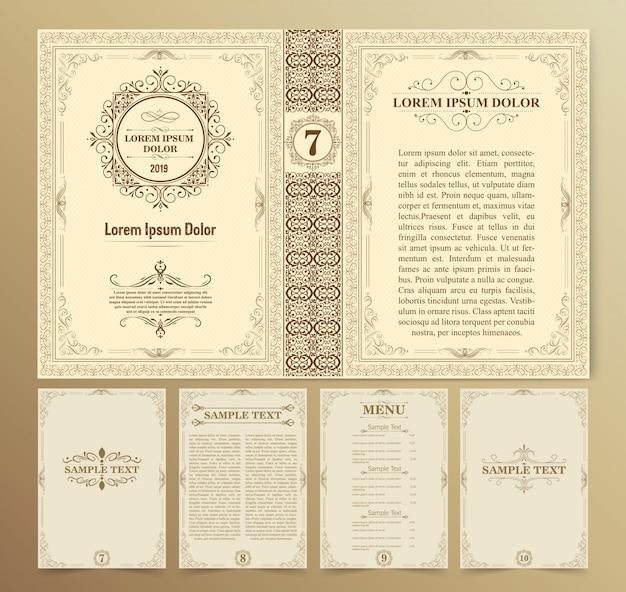 Vintage boeklay-outs en ontwerp