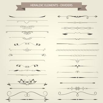 Vintage boekvignetten, verdelers en scheidingstekens - elegante scheidingstekens