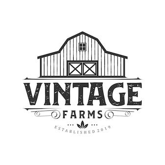 Vintage boerderij logo ontwerp