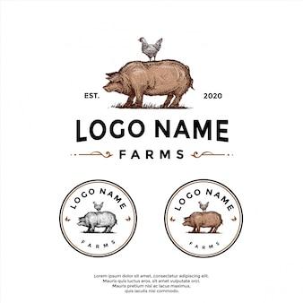 Vintage boerderij, varken kip logo