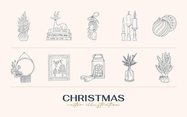 Vintage boho kerst hand getekende illustratie