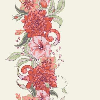 Vintage botanische naadloze patroonrand met bloeiende pioen