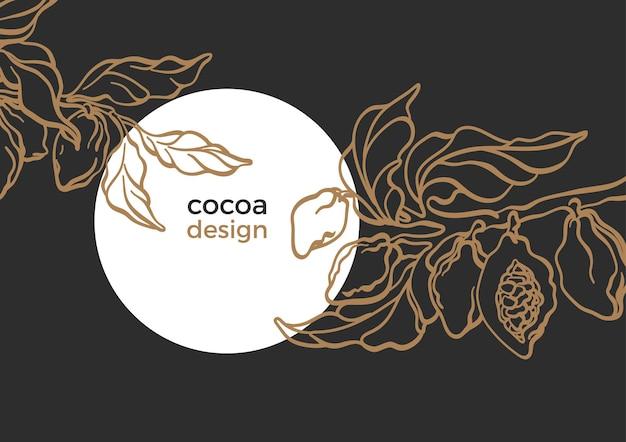 Vintage botanische sjabloon symbool van cacaoboomtak met kunstlijn laat bonen graan fruit