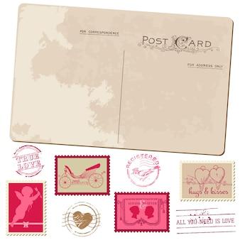 Vintage briefkaart en postzegels