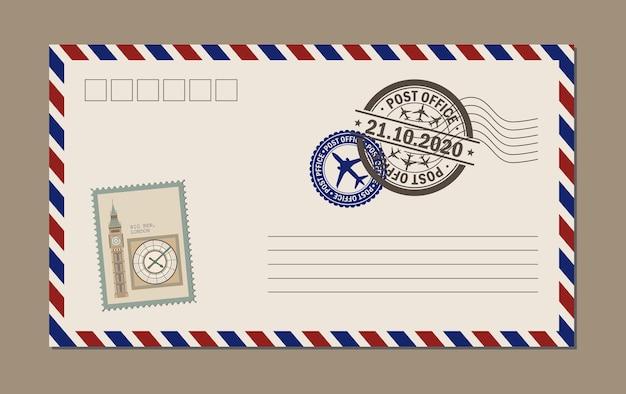Vintage briefkaart, enveloppen en postzegels. ansichtkaart bigben.