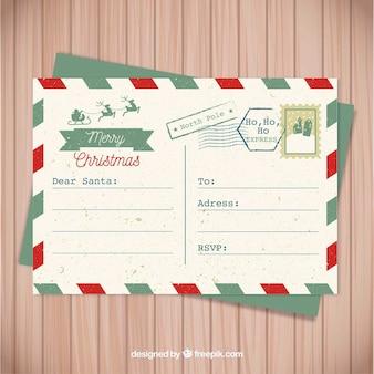Vintage briefkaart voor santa