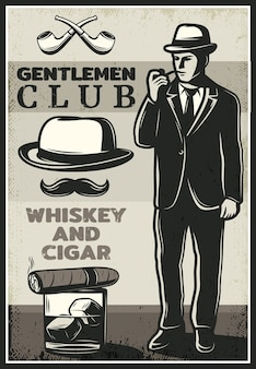 Vintage britse gentleman poster