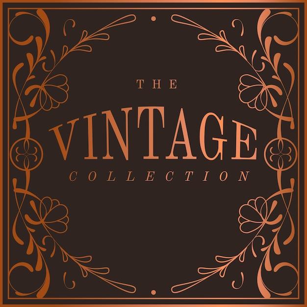 Vintage bronzen art nouveau badge vector