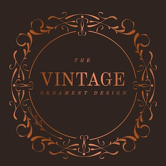 Vintage bronzen art nouveau badge vector