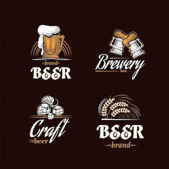 Vintage brouwerij logo set. bier retro badge. bierhuis ontwerpsjabloon. icoonbrouwbedrijf. vector illustratie