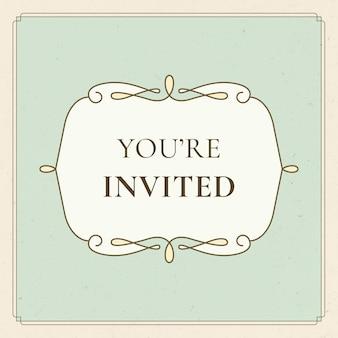 Vintage bruiloft badge vector op pastel groene achtergrond u bent uitgenodigd