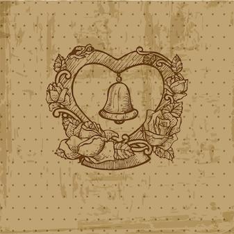 Vintage bruiloft briefkaart voor uitnodiging, felicitatie, plakboek