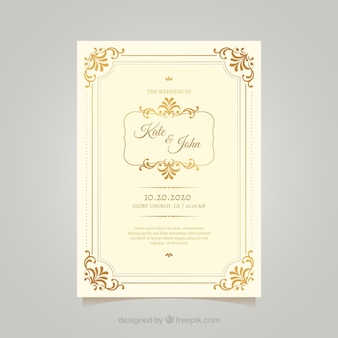 Vintage bruiloft kaartsjabloon met elegante stijl