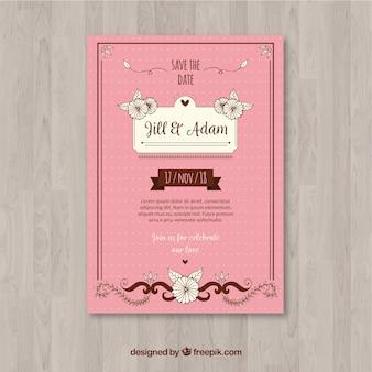 Vintage bruiloft kaartsjabloon met florale stijl