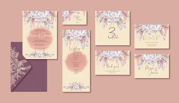 Vintage bruiloft sjabloon kaarten met bloemen