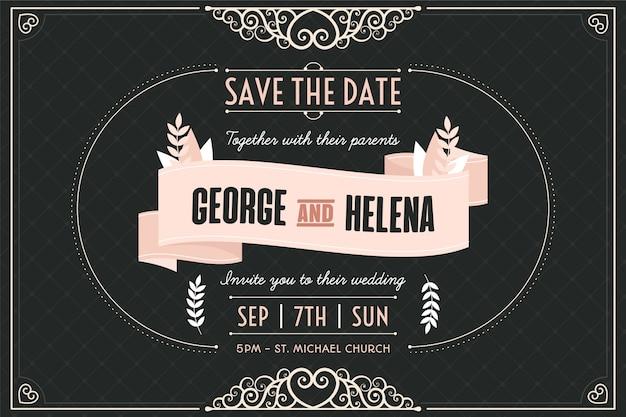 Vintage bruiloft sjabloon uitnodiging