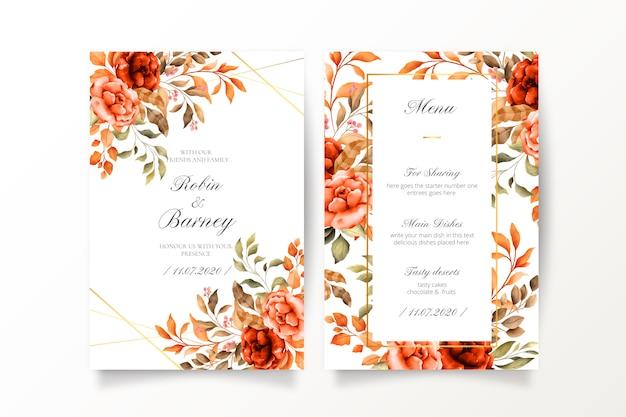 Vintage bruiloft uitnodiging en menusjabloon