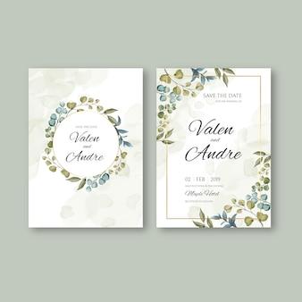 Vintage bruiloft uitnodiging kaartsjabloon met bladeren achtergrond en gouden frame