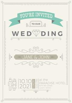 Vintage bruiloft uitnodiging kaartsjabloon met bloeien ornamenten lijnstijl