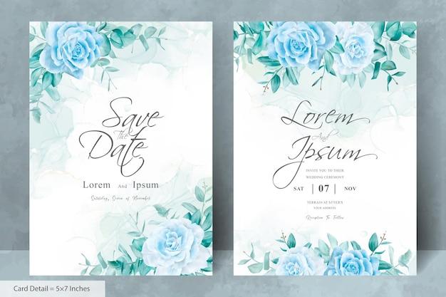 Vintage bruiloft uitnodiging kaartsjabloon met bloemen en alcohol inkt achtergrond