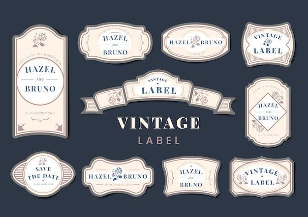 Vintage bruiloft uitnodiging label vector set