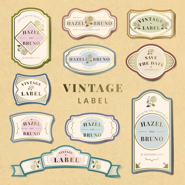 Vintage bruiloft uitnodiging label vector set