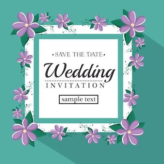 Vintage bruiloft uitnodiging met florale elementen