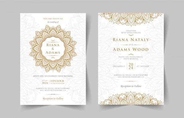 Vintage bruiloft uitnodiging met mandala